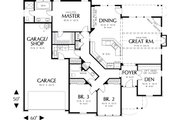 Craftsman Style House Plan - 3 Beds 2 Baths 2001 Sq/Ft Plan #48-104 Floor Plan - Main Floor