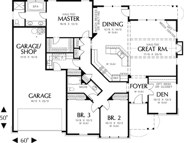 Craftsman style house plan, floor plan