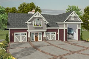 Craftsman, Front Elevation, RV Garage
