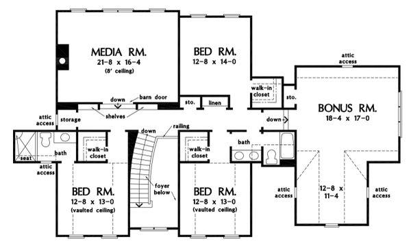 Farmhouse Floor Plan - Upper Floor Plan #929-1113