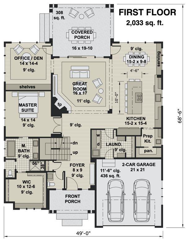 House Blueprint - Craftsman Floor Plan - Main Floor Plan #51-1174