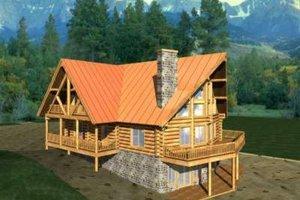 Log Exterior - Front Elevation Plan #117-396