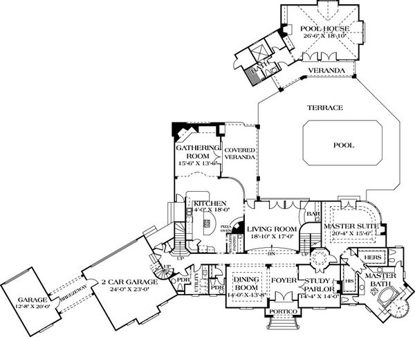 European Floor Plan - Main Floor Plan Plan #453-46
