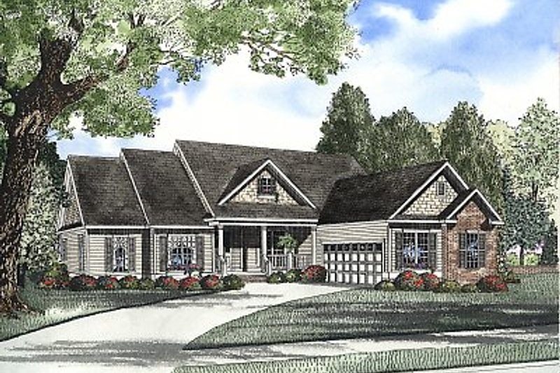 Traditional Style House Plan - 5 Beds 4 Baths 2379 Sq/Ft Plan #17-2059 Exterior - Front Elevation
