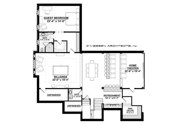 Country Floor Plan - Lower Floor Plan Plan #928-12