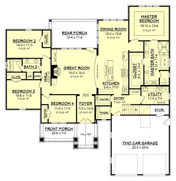 Craftsman Floor Plan - Main Floor Plan Plan #430-152