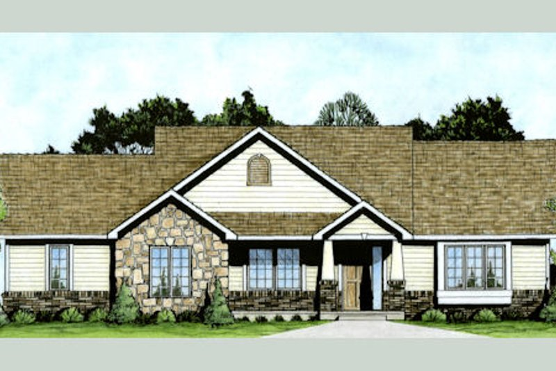 Craftsman Style House Plan - 2 Beds 2 Baths 1309 Sq/Ft Plan #58-210