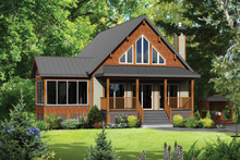 Cabin Exterior - Front Elevation Plan #25-4291