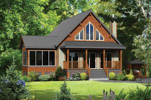 Cabin Exterior - Front Elevation Plan #25-4291