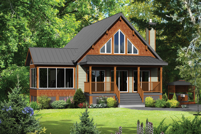 Cabin Style House Plan - 4 Beds 1 Baths 1440 Sq/Ft Plan #25-4291 Exterior - Front Elevation