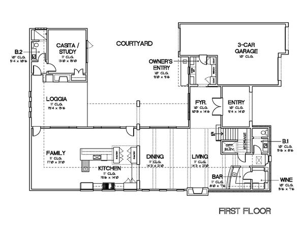 Contemporary Floor Plan - Main Floor Plan Plan #449-21