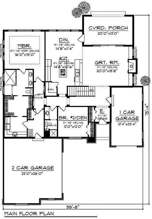 European Floor Plan - Main Floor Plan Plan #70-867