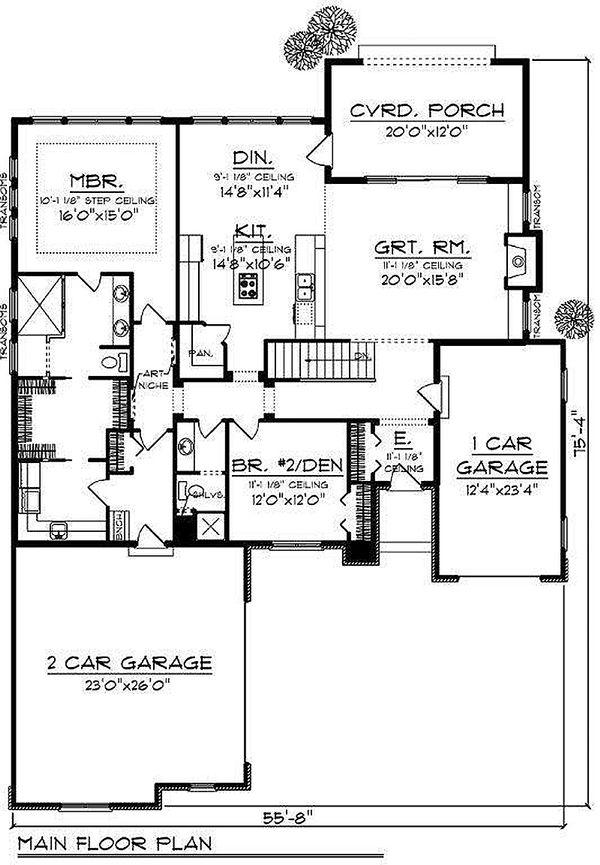 European Floor Plan - Main Floor Plan Plan #70-867