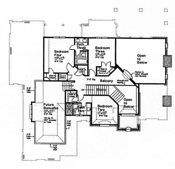 European Floor Plan - Upper Floor Plan Plan #310-996
