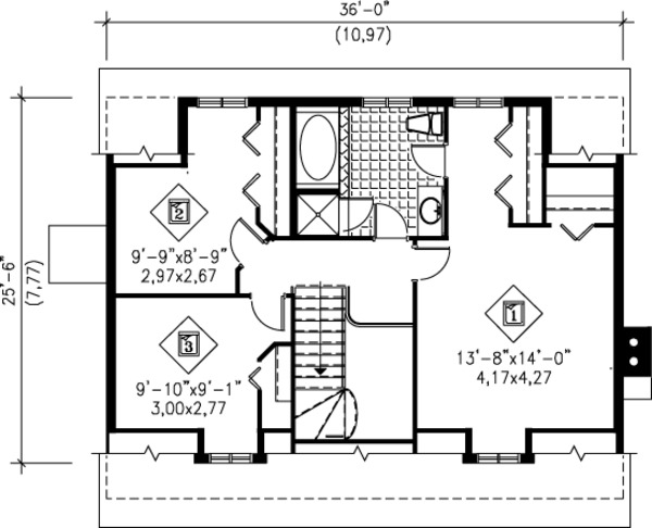 Cottage Floor Plan - Upper Floor Plan Plan #25-4250