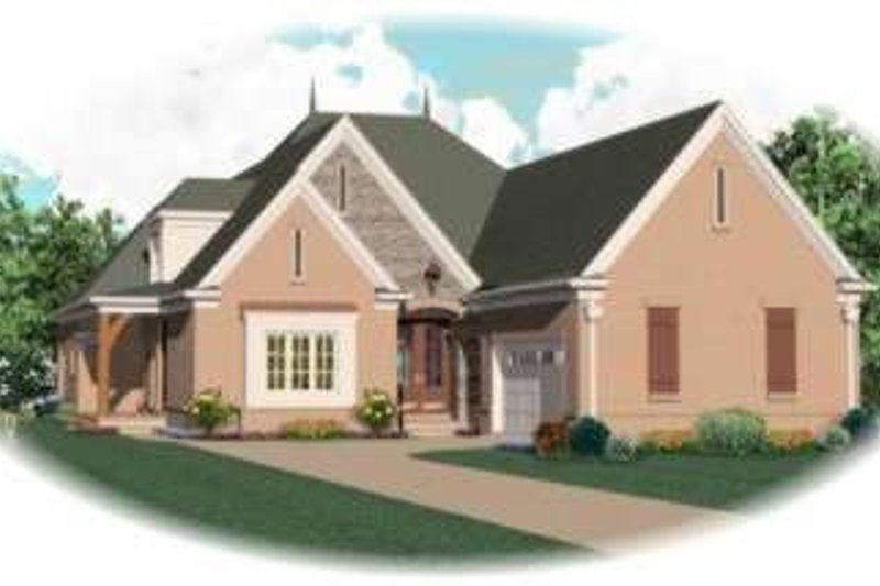 European Style House Plan - 4 Beds 3 Baths 3525 Sq/Ft Plan #81-1302 Exterior - Front Elevation