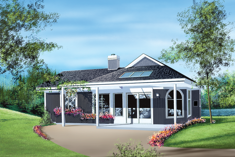 Cottage Style House Plan - 2 Beds 1 Baths 886 Sq/Ft Plan #25-1108 Exterior - Front Elevation