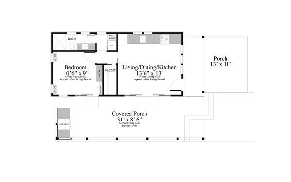 Cottage Style House Plan - 1 Beds 1 Baths 399 Sq/Ft Plan #917-4 Floor Plan - Main Floor Plan