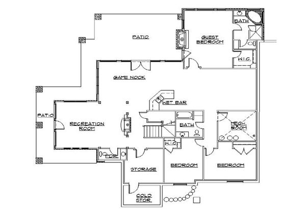Craftsman Floor Plan - Lower Floor Plan Plan #5-466