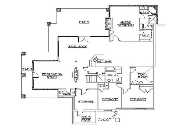 Dream House Plan - Craftsman Floor Plan - Lower Floor Plan #5-466