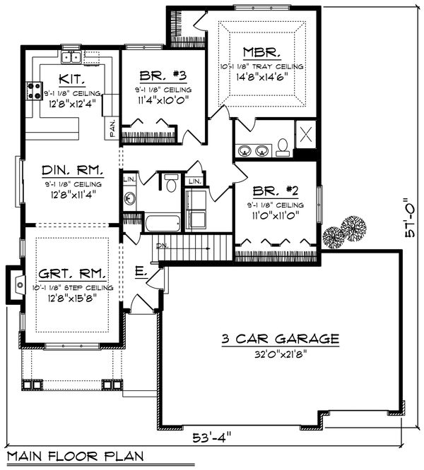 Ranch Floor Plan - Main Floor Plan Plan #70-1207