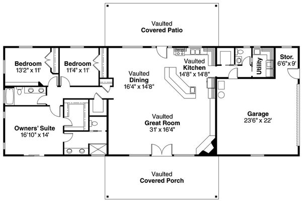 Dream House Plan - Ranch style house plan country homeplan great room