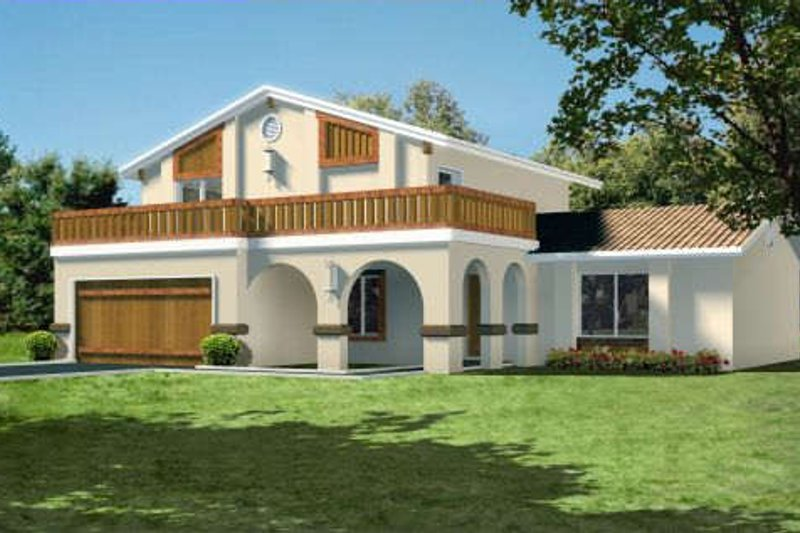 Mediterranean Style House Plan - 4 Beds 3 Baths 2086 Sq/Ft Plan #1-1426 Exterior - Front Elevation