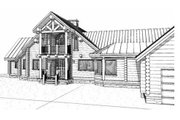 Log Style House Plan - 5 Beds 4 Baths 3867 Sq/Ft Plan #451-2 Exterior - Other Elevation