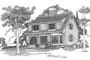 Colonial Style House Plan - 3 Beds 2.5 Baths 1782 Sq/Ft Plan #72-114 Exterior - Rear Elevation