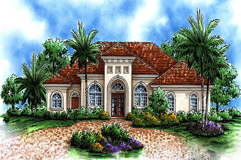 Mediterranean Style House Plan - 3 Beds 4 Baths 4597 Sq/Ft Plan #27-512 Exterior - Front Elevation