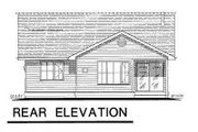 Ranch Style House Plan - 3 Beds 2 Baths 1059 Sq/Ft Plan #18-1029 Exterior - Rear Elevation