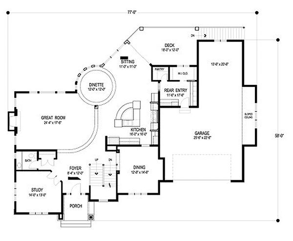 Traditional Floor Plan - Main Floor Plan Plan #56-605
