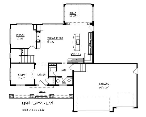 Craftsman Floor Plan - Main Floor Plan Plan #320-490