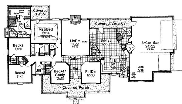 Home Plan - Traditional Floor Plan - Main Floor Plan #310-620