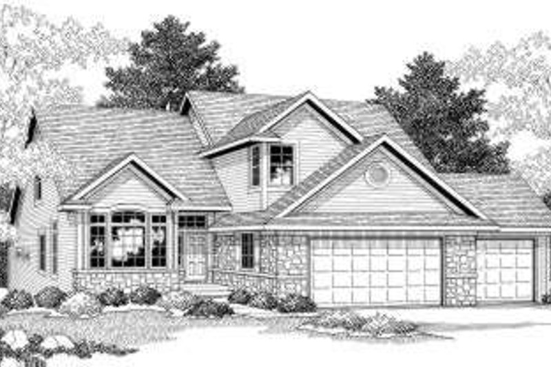 European Style House Plan - 4 Beds 2.5 Baths 2416 Sq/Ft Plan #70-602 Exterior - Front Elevation