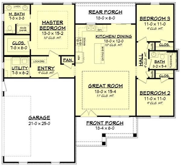 Farmhouse Floor Plan - Main Floor Plan #430-200