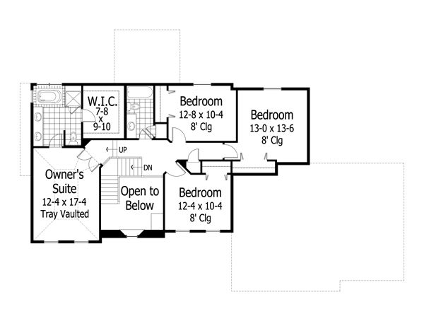 Traditional Floor Plan - Upper Floor Plan Plan #51-425