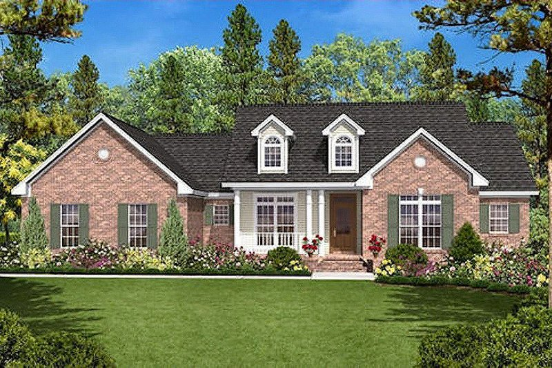 Country Exterior - Front Elevation Plan #430-18 - Houseplans.com