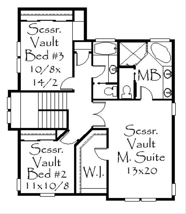 Craftsman Floor Plan - Upper Floor Plan Plan #509-27