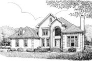 European Style House Plan - 4 Beds 2.5 Baths 2607 Sq/Ft Plan #306-116 Exterior - Front Elevation