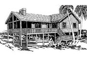 Beach Style House Plan - 4 Beds 2 Baths 1600 Sq/Ft Plan #307-102 Exterior - Front Elevation