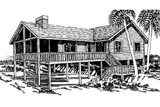 Beach Exterior - Front Elevation Plan #307-102