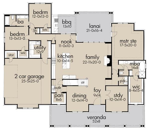 Farmhouse Floor Plan - Main Floor Plan Plan #120-257