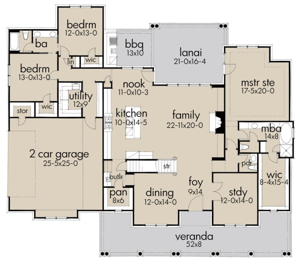 Architectural House Design - Farmhouse Floor Plan - Main Floor Plan #120-257