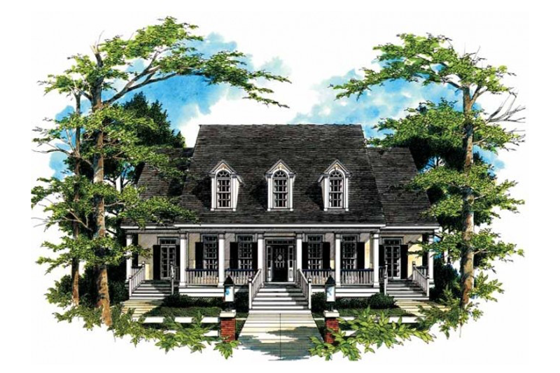 Traditional Style House Plan - 3 Beds 3 Baths 2500 Sq/Ft Plan #37-113 Exterior - Front Elevation