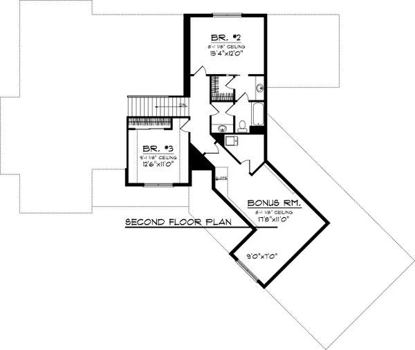 Craftsman Floor Plan - Upper Floor Plan Plan #70-1059