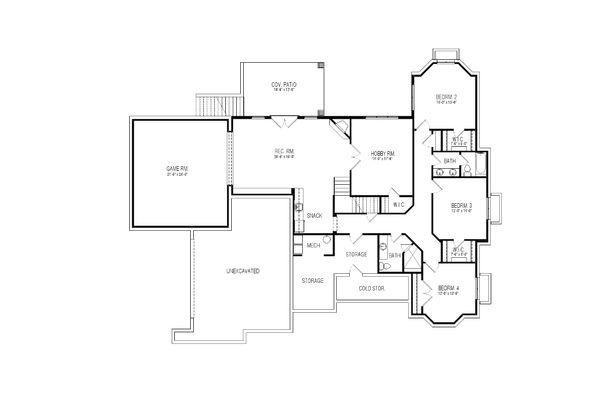 European Floor Plan - Lower Floor Plan Plan #920-17