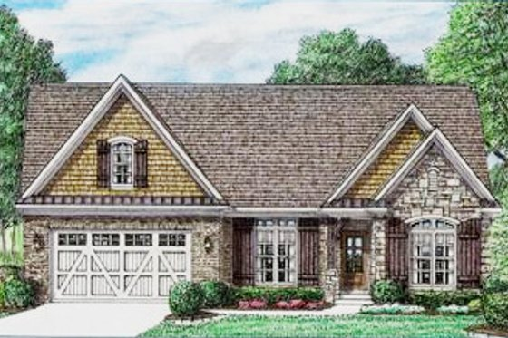 European Exterior - Front Elevation Plan #34-239