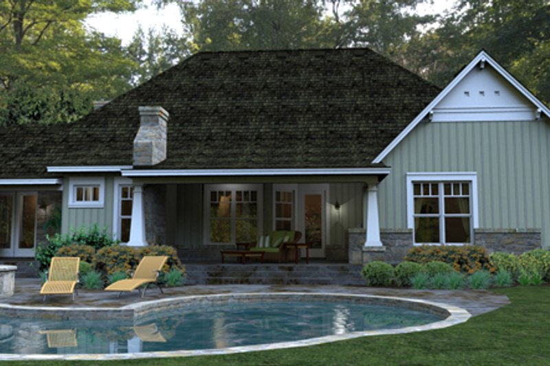 Craftsman Exterior - Rear Elevation Plan #120-181 - Houseplans.com
