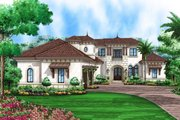 Mediterranean Style House Plan - 5 Beds 6 Baths 9026 Sq/Ft Plan #27-537 Exterior - Front Elevation